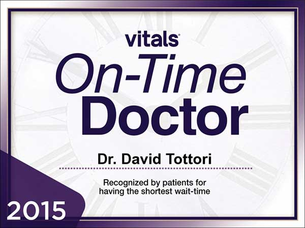 A certificate from vitals.com naming Dr. David Tottori as the winner of the On-Time Doctor Award