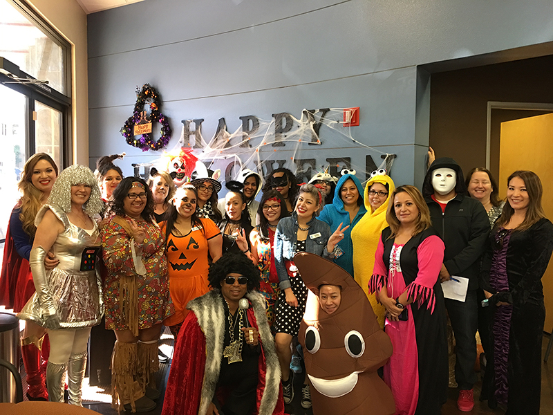 The staff of Tottori Allergy dressed in Halloween costumes