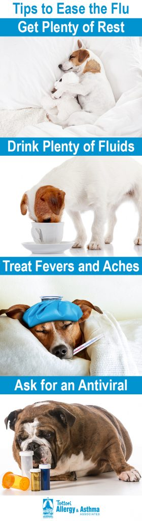 Four tips for easing the flu - get plenty of rest, drink plenty of fluids, treat fevers and aches, and ask for an antiviral