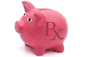 """A piggy bank with """"Rx"""" on the side"""