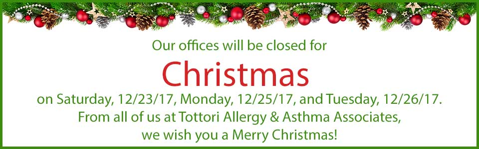 In observation of Christmas, our offices will be closed on Saturday, 12/23/17, Monday, 12/25/17, and Tuesday, 12/26/17.