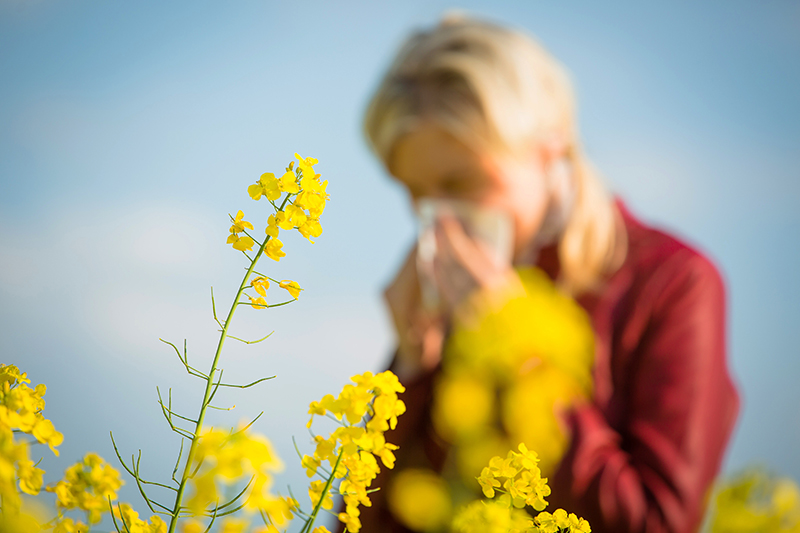 Tottori Allergy and Asthma - Woman sneezing in a field