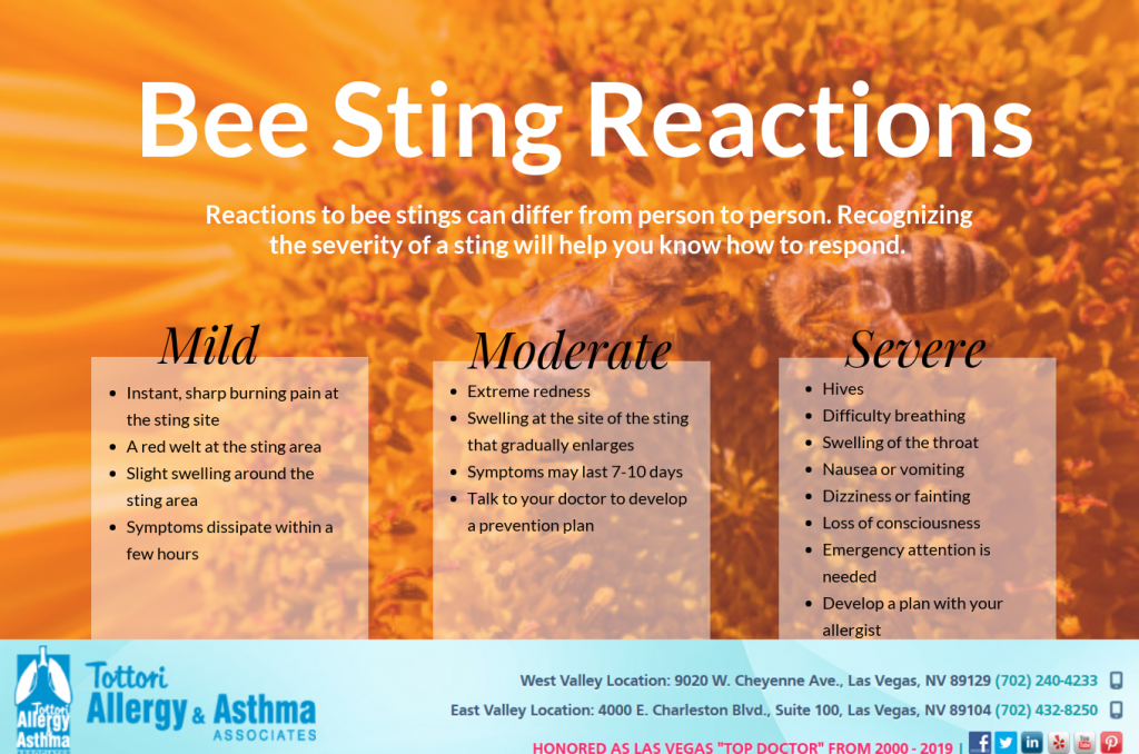 bee sting reactions