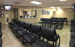 interior of las vegas allergy doctor office waiting room with rows of chairs