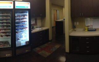 interior of las vegas allergy doctor office featuring refrigerator of shot vials